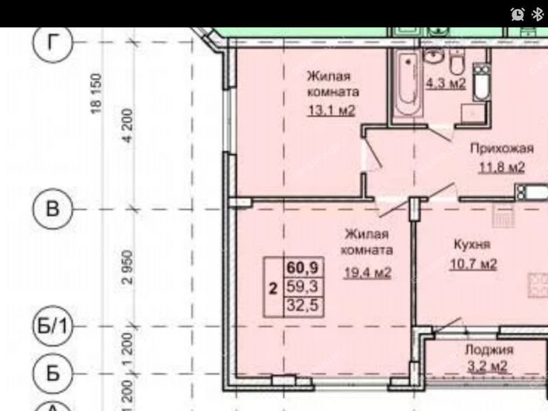 двухкомнатная квартира на улице Первоцветная дом 6 к1