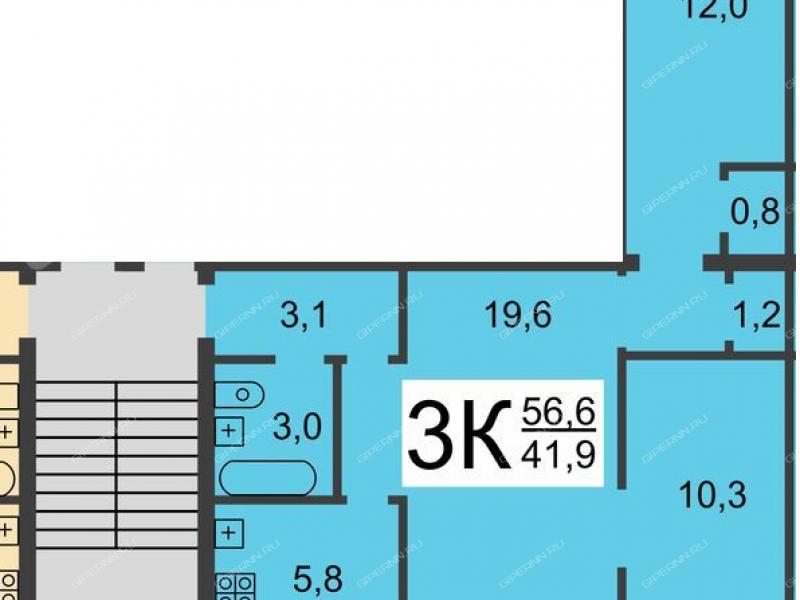 трёхкомнатная квартира на проспекте Молодёжный дом 44