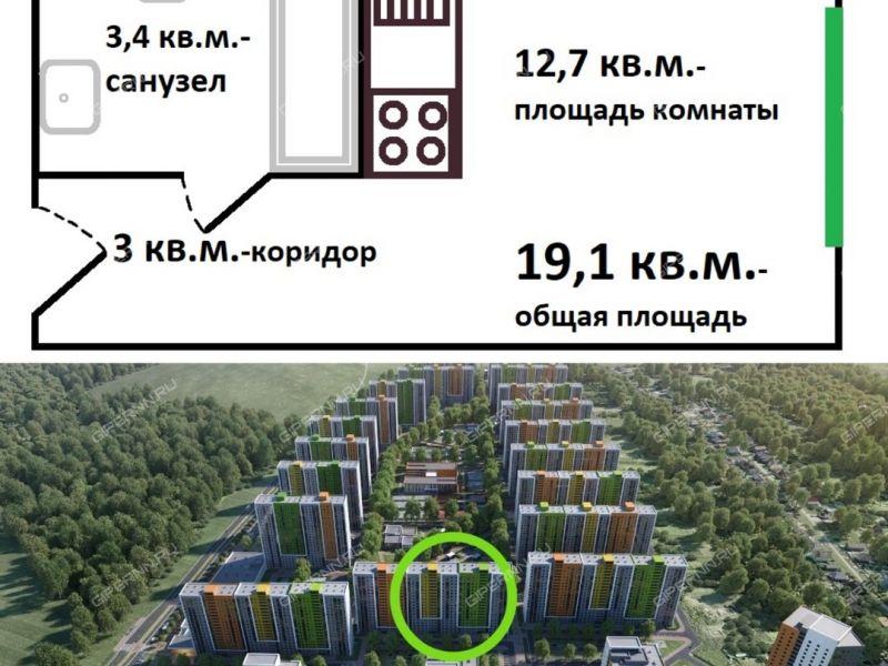 квартира-студия на улице Русская дом 5 деревня Анкудиновка